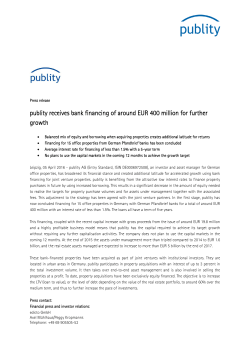 publity receives bank financing of around EUR 400 million for further