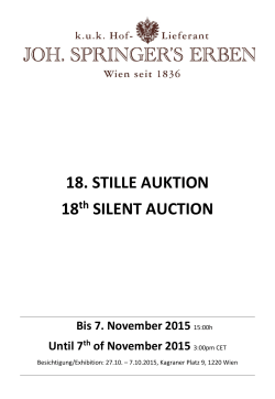 18. STILLE AUKTION 18th SILENT AUCTION
