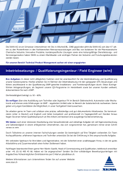 Qualifizierungsingenieur / Field Engineer (w/m)