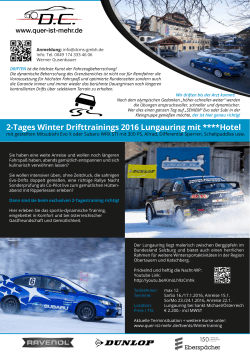 2-Tages Winter Drifttrainings 2016 Lungauring mit ****Hotel
