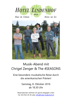 Musik-Abend mit Chrigel Zenger & The 4SEASONS