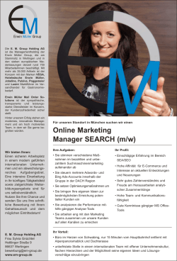 Online Marketing Manager SEARCH (m/w)