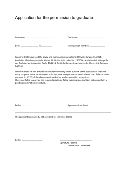 Application for the permission to graduate