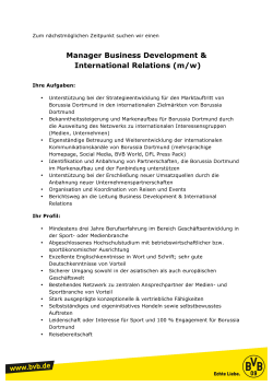 Manager Business Development & International Relations (m/w)