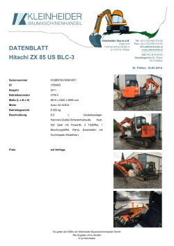 DATENBLATT Hitachi ZX 85 US BLC-3