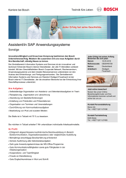 Assistent/in SAP Anwendungssysteme