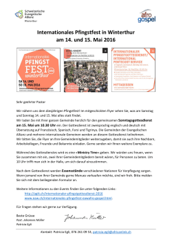 Internationales Pfingstfest in Winterthur am 14. und 15. Mai