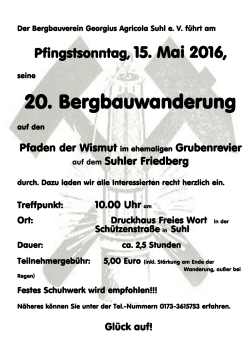 20. Bergbauwanderung - Bergbautraditionsverein Wismut