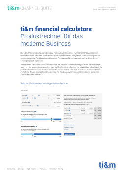 ti&m financial calculators Produktrechner für das moderne Business