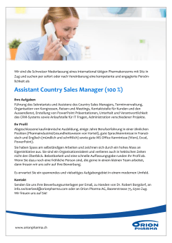 Assistant Country Sales Manager (100 %)