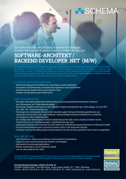software-architekt / backend developer .net (m/w)