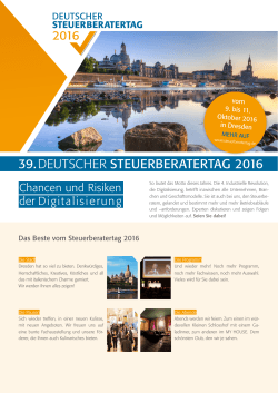 39.DEUTSCHER STEUERBERATERTAG 2016
