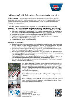 BOARD 9 Spezialist/-in (Reporting, Training, Planung)