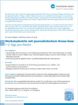 Werkstudent/in mit journalistischem Know