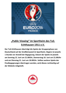 """Public Viewing"" im Sportheim des TuS"