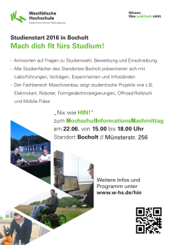 Studienstart 2016 in Bocholt Mach dich fit fürs Studium!