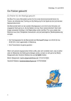 Co-Trainer gesucht - Blue Fire Lions Ofenerdiek