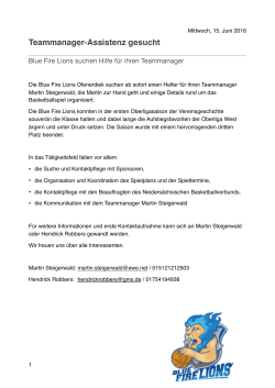 Teammanager-Assistenz gesucht