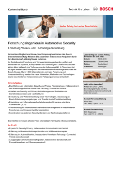 Forschungsingenieur/in Automotive Security
