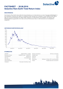 FACTSHEET - 16.06.2016 Solactive Rare Earth Total Return Index