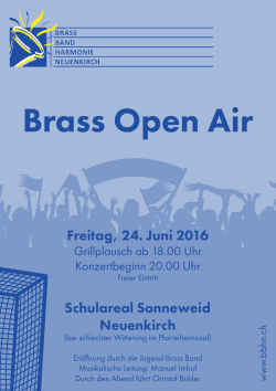 Flyer Open Air - Brass Band Harmonie Neuenkirch
