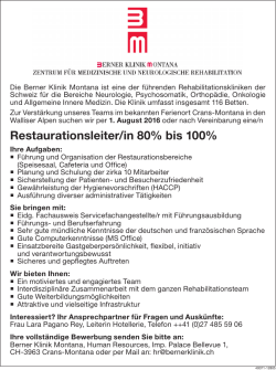 Restaurationsleiter/in 80% bis 100%