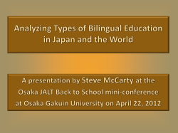 Analyzing Types of Bilingual Education in Japan and the