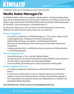 Media Sales Manager/in - mediabiz