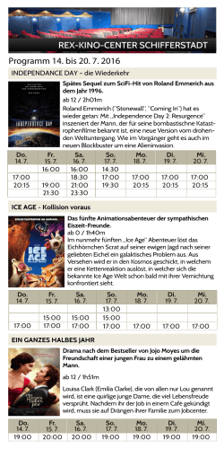 REX-KINO-CENTER SCHIFFERSTADT Programm 14. bis 20. 7. 2016