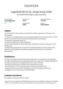 Lagerfachkraft (m/w), car2go Group GmbH