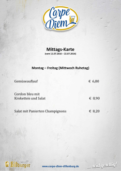 Mittags-Karte - Carpe Diem Dillenburg