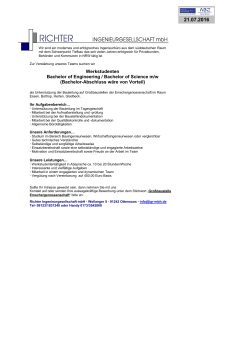 Werkstudenten Bachelor of Engineering / Bachelor of Science m/w