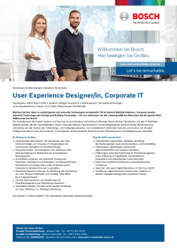 User Experience Designer/in, Corporate IT