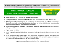 Flyer Papier/Kartonsammlung August 2016
