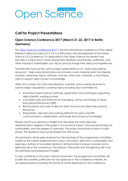 Call for Project Presentations