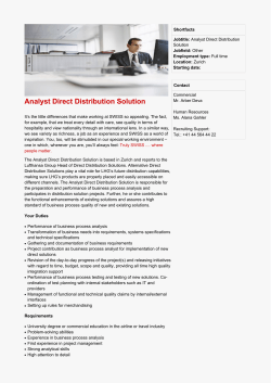 Analyst Direct Distribution Solution