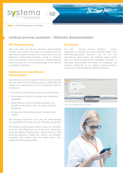 medical process assistant – Klinische Dokumentation