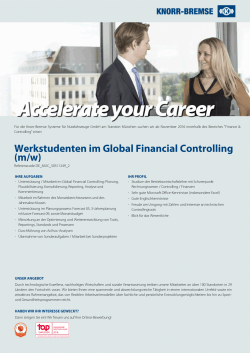 Werkstudenten im Global Financial Controlling (m/w)