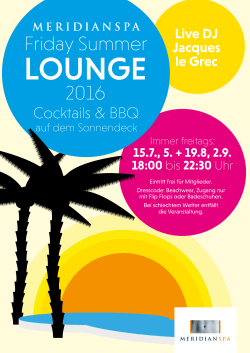 Friday Summer Lounge am 5.+19.8.