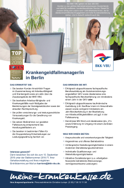 Krankengeldfallmanager/in in Berlin