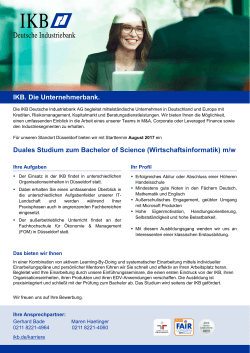 Duales Studium zum Bachelor of Science