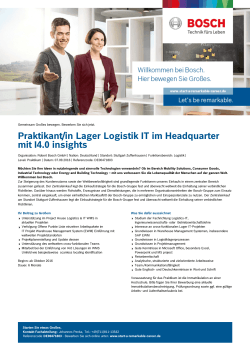 Praktikant/in Lager Logistik IT im Headquarter mit I4.0 insights