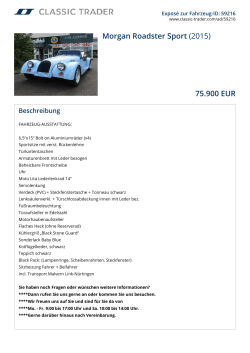 Morgan Roadster Sport (2015) 75.900 EUR