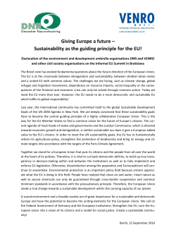 Giving Europe a future – Sustainability as the guiding