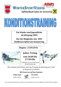Infos zum Konditionstraining - Wintersportverein Spital am Semmering