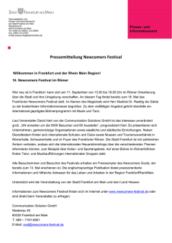 Pressemitteilung Newcomers Festival