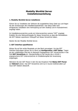 Modality Worklist Server Installationsanleitung
