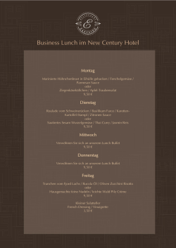 Business Lunch Menu KW39 - New Century Hotel Frankfurt Offenbach