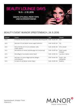 BEAUTY EVENT MANOR SPREITENBACH, . .