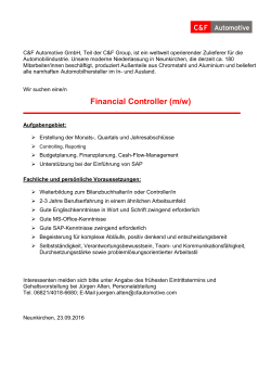 Financial Controller (m/w)